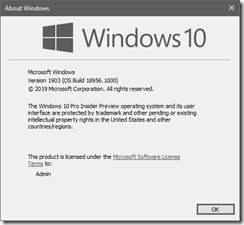 Windows 10 About Dialog - Version 1903